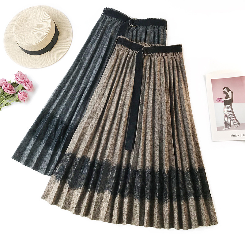 cc15f749c3d Detail Feedback Questions about Wasteheart Gray Women Skirts Fashion High  Waist Pleated Ankle Length Skirt Clothing Gradient Ramp Streetwear A Line  Plus ...