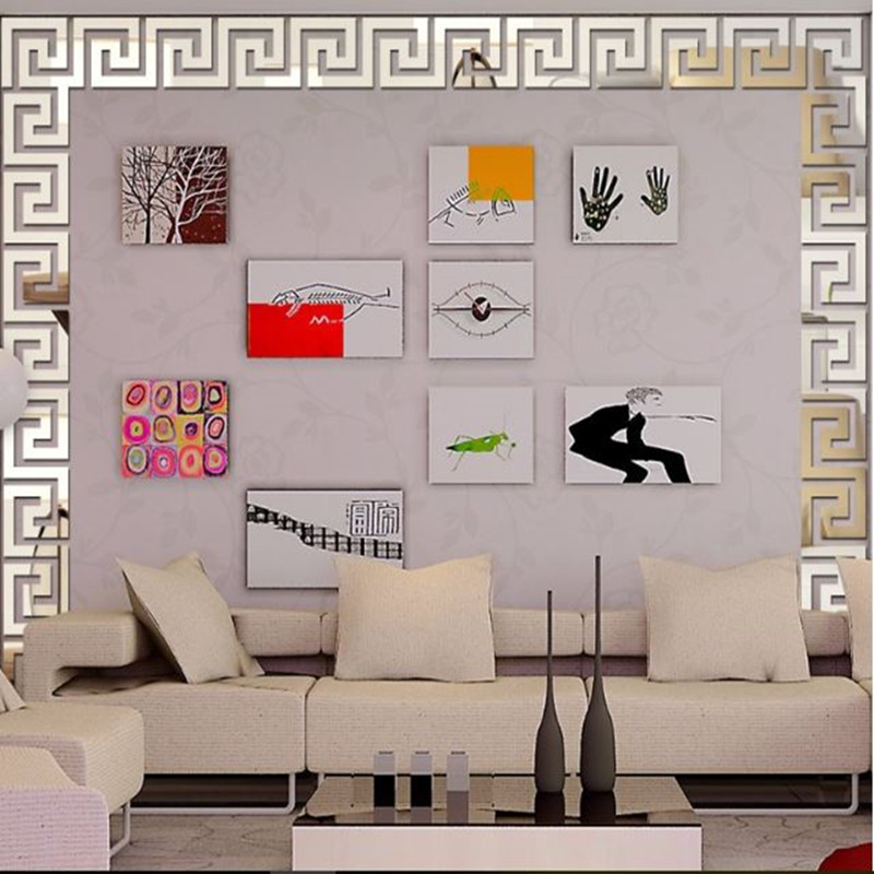 10Pcs 15*15CM/20*20CM Acrylic Waist Line Mirror Sticker DIY Modern Home Decor Wall Stickers for Kids Rooms Living Room Wallpaper