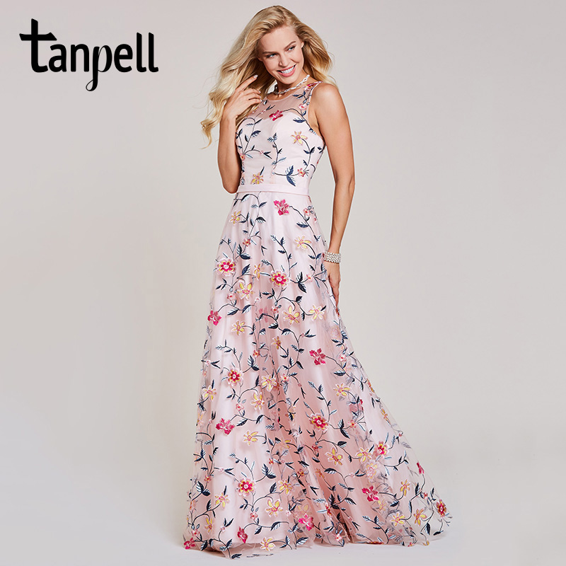 Tanpell embroidery evening dresses pink sleeveless floor length a line dress women formal wedding party prom long evening gown