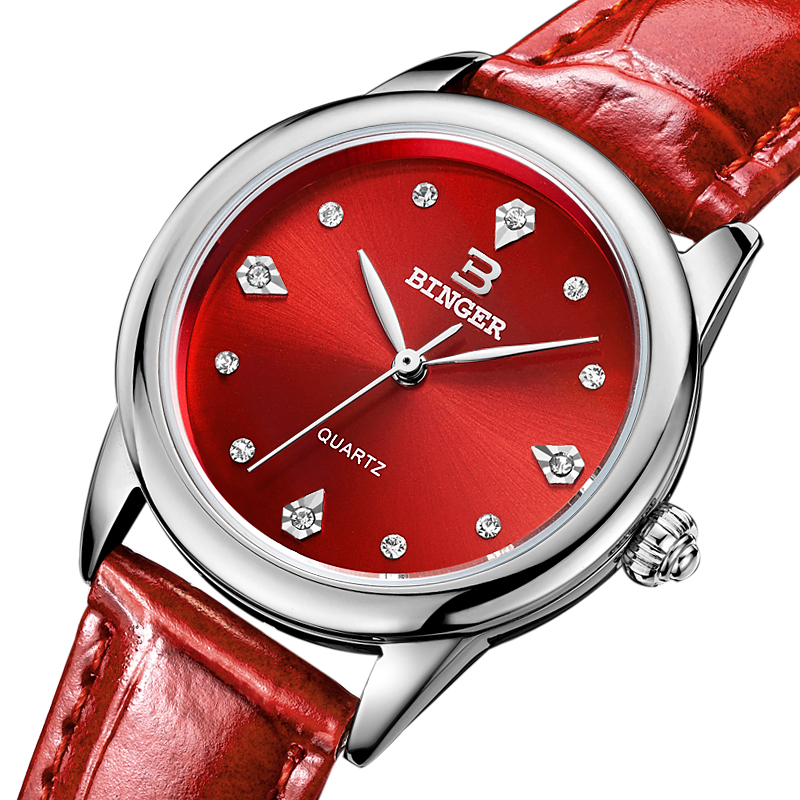 Switzerland Binger watches women quartz Red-Hot Shell dial women's Watch Genuine Leather Strap waterproof clock BG9006-2 holuns watch women sapphire glass white dial quartz waterproof multicolor red leather strap watch