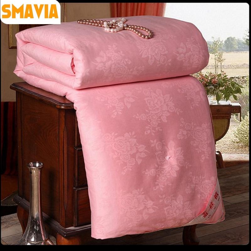 52269b00a0 SMAVIA Hot Sale 100% Mulberry Silk Comforter Chinese Silk Fiber Quilt 100%  Cotton Satin Jacquard Fabric Blankets Accept Custom