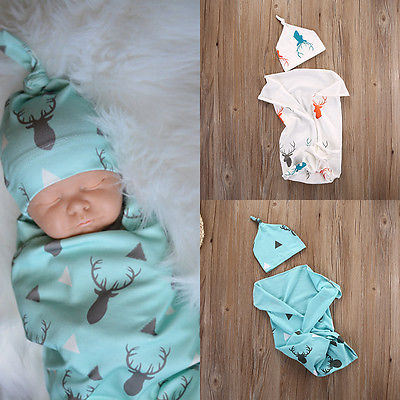 Mikrdoo Baby Warmer Blanket Kids Boys Girls Knit Hat Toddler Infant Wrap Sky Blue White Clothes Cotton Deer Print Sleeping Bag