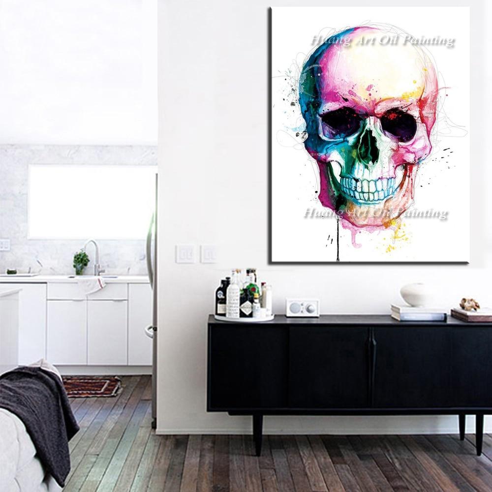 Ročno poslikana moderna skeletna oljna slika Okrasna slika Izvleček - Dekor za dom - Fotografija 3