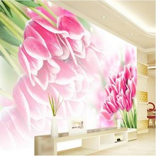 beibehang size High Quickly HD mural 3d wallpaper seiling Pink tulips mew europe papel de parede wallpaper for walls 3 d(China)