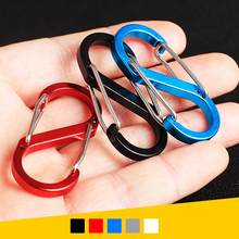 5pcs/lot Mix Color 8 Shape Outdoor Carabineer & Quickdraw Aluminum alloy Survival Buckle Locking Carabiner Keychain Tools