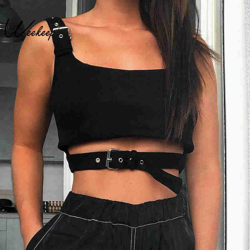 Weekeep Sexy Black Hollow Out Buckle Tank Top Women Cropped Streetwear Backless Tank Tops 2019 Summer Fashion Befree Crop Top