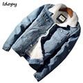 Idopy Мужская Повседневная джинсовая куртка с меховой подкладкой  утолщенное теплое пальто  джинсы на флисе  куртка  верхняя одежда для мужчин