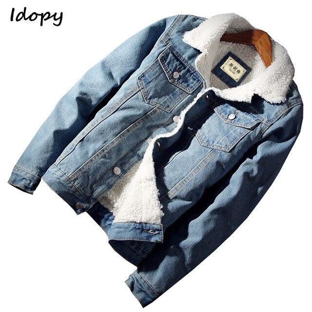 Idopy męska kurtka dżinsowa z futrzanym podszewką gruby, ciepły płaszcz z polaru Jean odzież wierzchnia dla mężczyzn