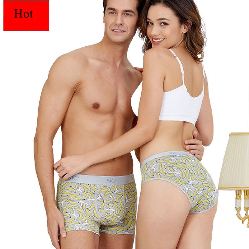 NEW HOT Banana Thin Breathable Couple Underwear Set Cotton Panties Fashionable Trend Women Underwear Panties Boxershorts Men