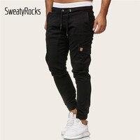 SweatyRocks Men Side Flap Pocket Drawstring Cargo Pants StreetWear Male Long Black Pants 2019 Spring Casual Pants And Trousers