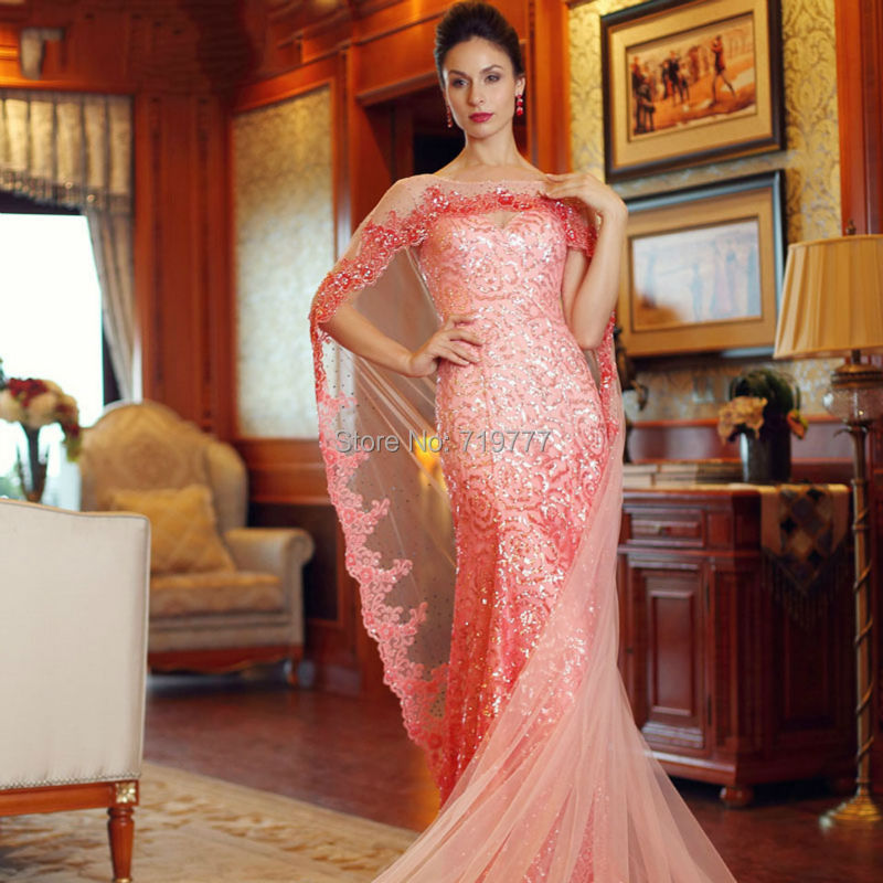 Luxury Stunning Sequined Formal Dress Peach Evening Gown Mermaid Prom  Dresses With Shawl Open Back Wedding Party Dress 2017 New-in Evening  Dresses from ... ecc7a276cc88