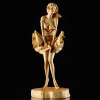 CC lifestyle Самшит Мэрилин Монро статуя китайский Деревянный Скульптура деревянные украшения нежный Рисунок домашний декор дерево декоративны