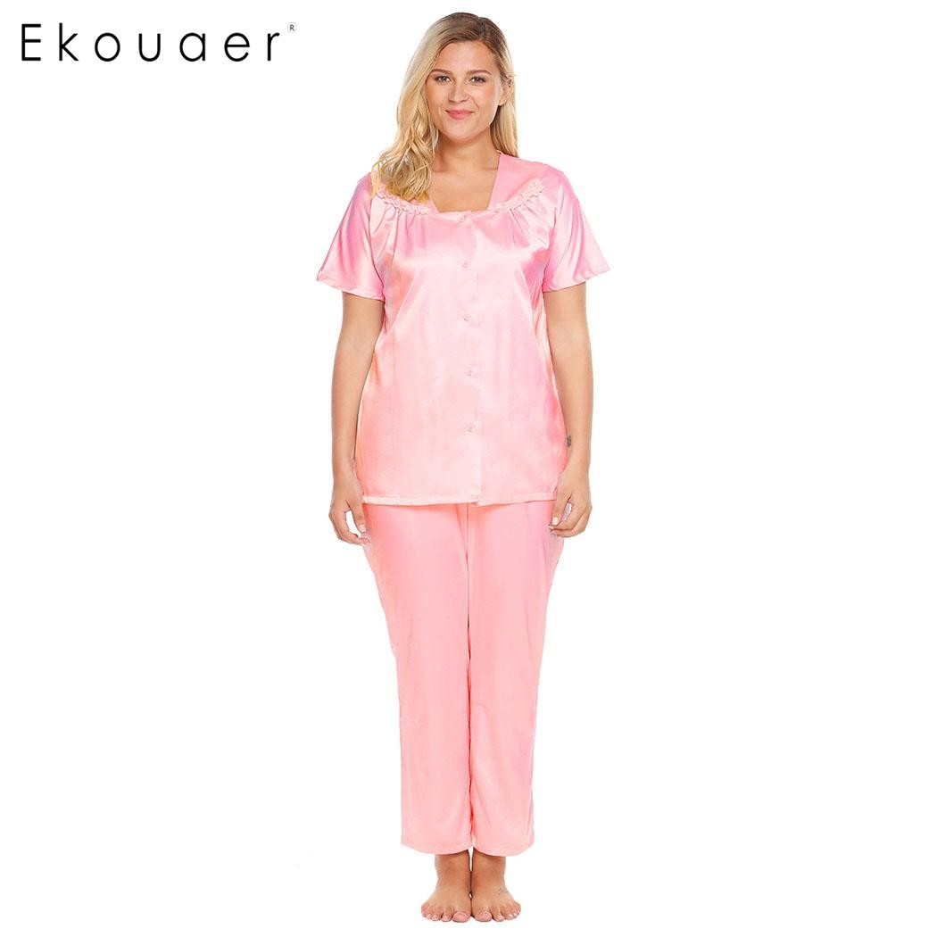 Ekouaer Skill   Pajamas   Autumn Women Short Sleeve Button Front Tops & Pants Satin   Pajama     Set   Casual Loose Sleepwear Plus Size