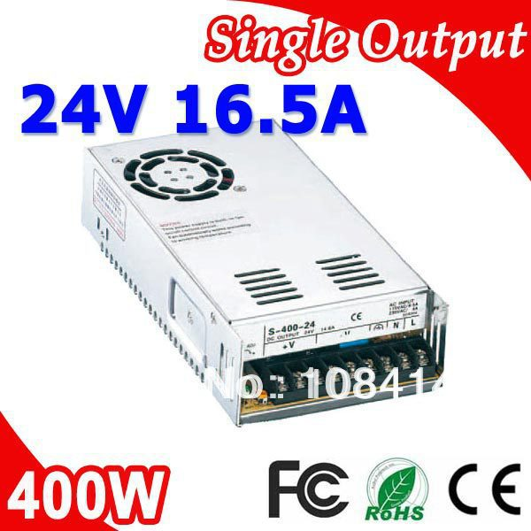 S-400-24 400W 24V Switching LED Power Supply Transformer 110V/220V AC Input to 24V DC output 400w led switching power supply 24v 16 7a 85 265ac input ce rosh power suply 24v output