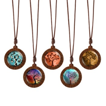 Tree of Life Round Glass Wooden Pendant Necklace Rope Chain  Mens Necklaces Women's Necklaces