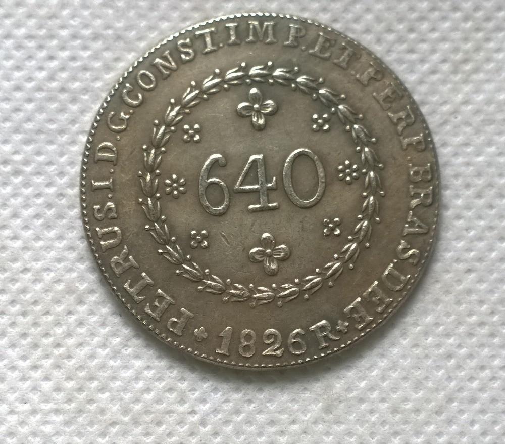 1826 Бразилия 640 Reis МОНЕТА КОПИЯ БЕСПЛАТНАЯ ДОСТАВКА