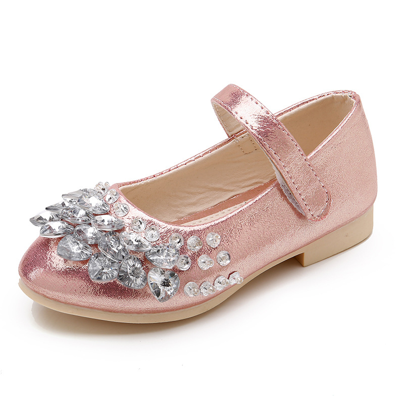 Heart Rhinestone Girls Princess Shoes glitter Girls Dance Shoes Party PU Leather Autumn spring Kids Shoes for Girls
