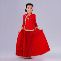 Chinese Style Girls Clothes Tang Suit Clothes Dress Sets Chinese Photography Embroidery Flower Girl Dress Children