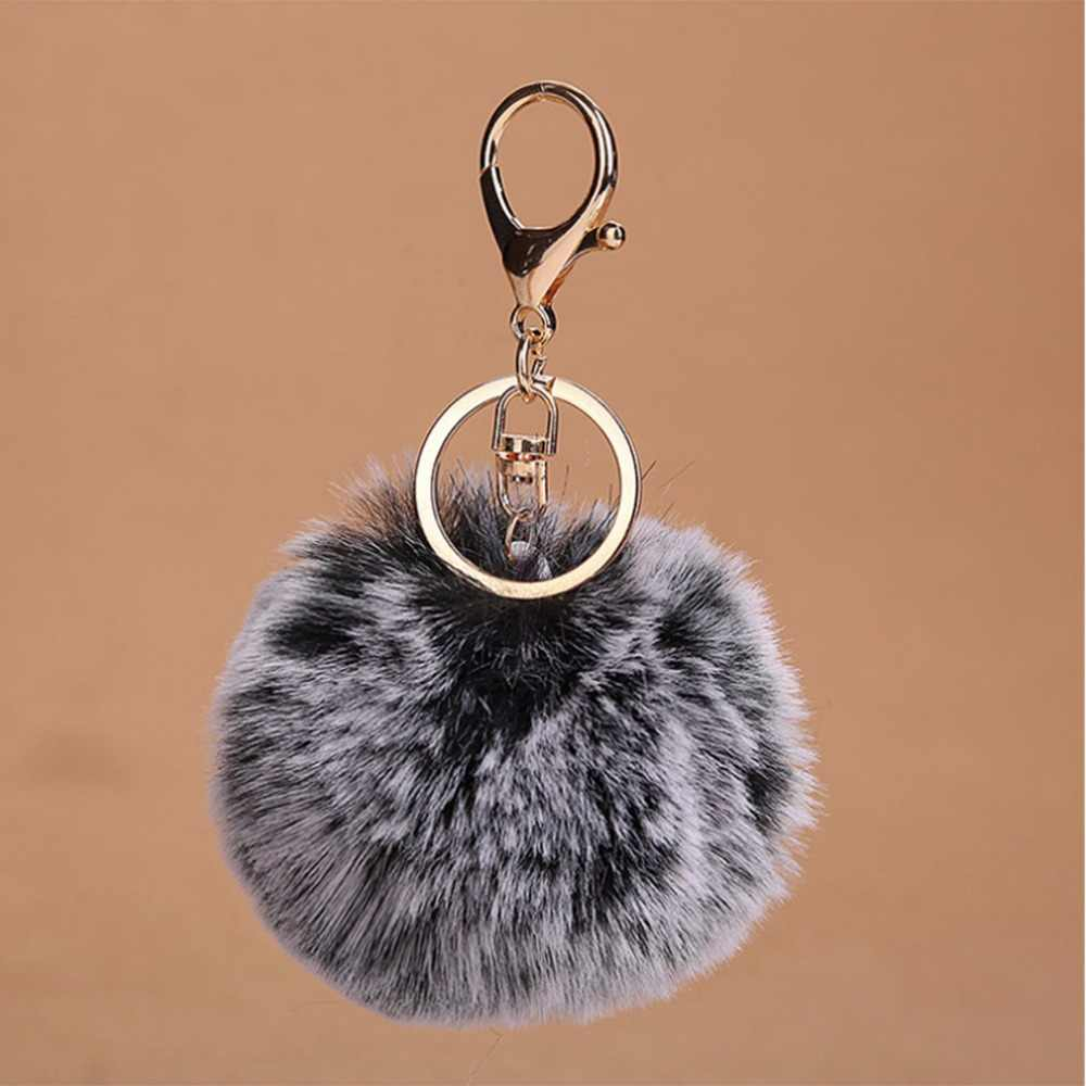 JAVRICK Nova Bolsa Charme Chaveiro Gradiente Faux Fur Bola PomPom Keychain Do Carro Do Telefone Celular 8x13 cm