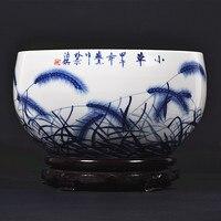 Цзиндэчжэнь Ху яньцзе керамики известных работ окрашены подглазурная синий и белый фарфоровая миска украшения