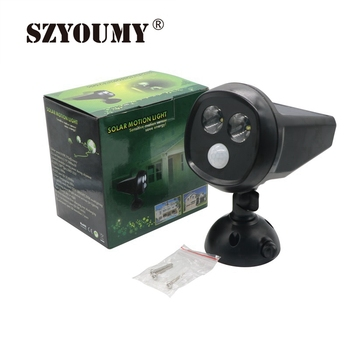 SZYOUMY 2 LED LED Solar Powered Motion Sensor Light Solar Wall Light Waterproof PIR Motion Sensor LED Spotlight