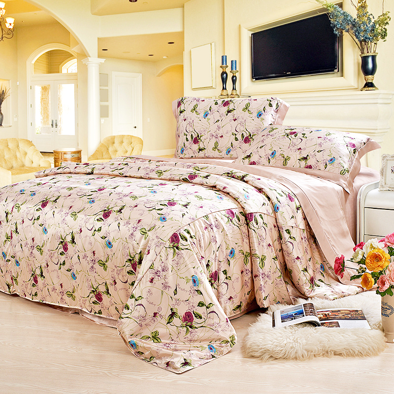 19 Mommie Luxury Silk 4 Pieces Bedding Set 100% Real Mulberry Silk Single Double Size Bed Sheet Duvet Cover Pillowcase Set
