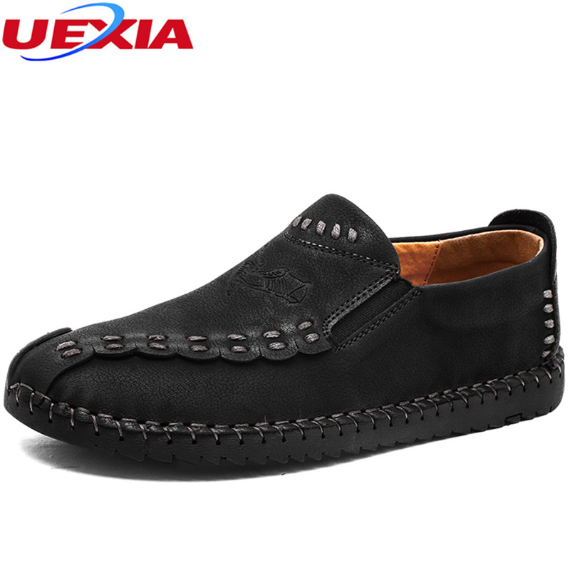 UEXIA New High Qualit Casual Hand Made Leather Men Shoes Comfortable Flat Shoes For Men Soft Light Fasts Fashion Breathable Male bimuduiyu new england style men s carrefour flat casual shoes minimalist breathable soft leisure men lazy drivng walking loafer
