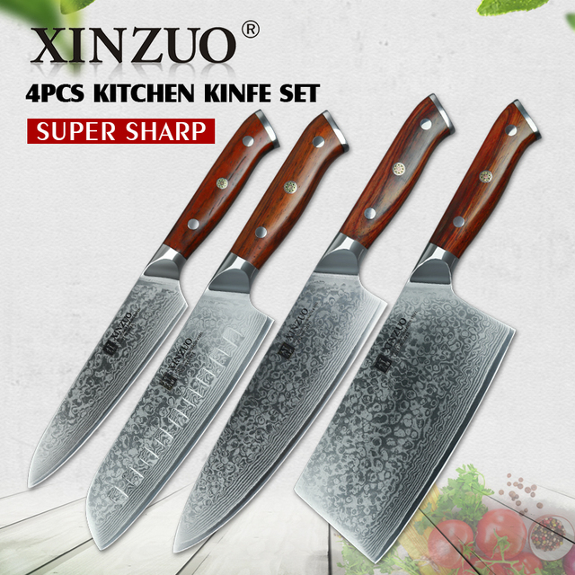 XINZUO 4pc kitchen knife set Damascus steel chef knives Pro chef\'s ...
