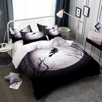 aec73fcb1f 3D Witch With Broomstick Bedding Set Halloween Moon Night Duvet Cover Set  Cartoon Bedding Cover King