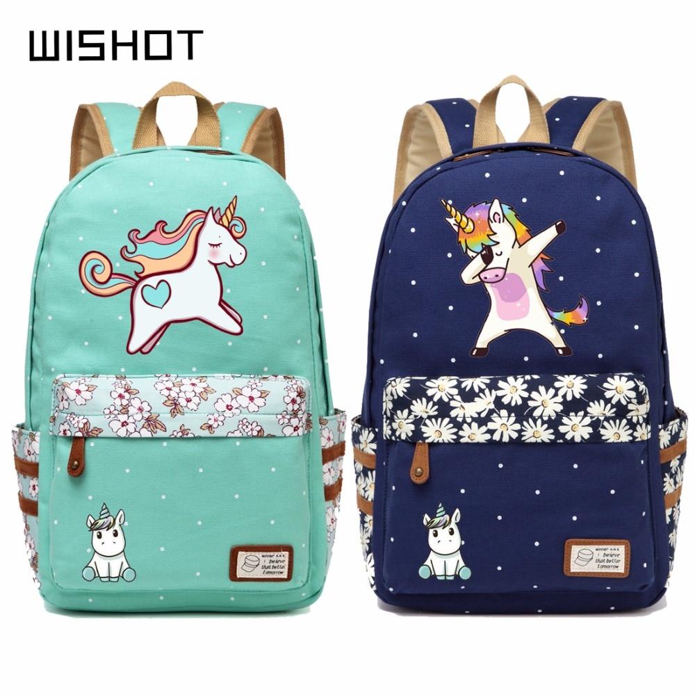 511b1f9b3c6b WISHOT cute unicorn Dab cartoon Backpack For Women Girls Canvas bag Flowers  wave point Rucksacks backpack