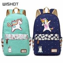 WISHOT  cute unicorn Dab cartoon Backpack For Women Girls Canvas bag  wave point Rucksacks backpack travel Shoulder Bag