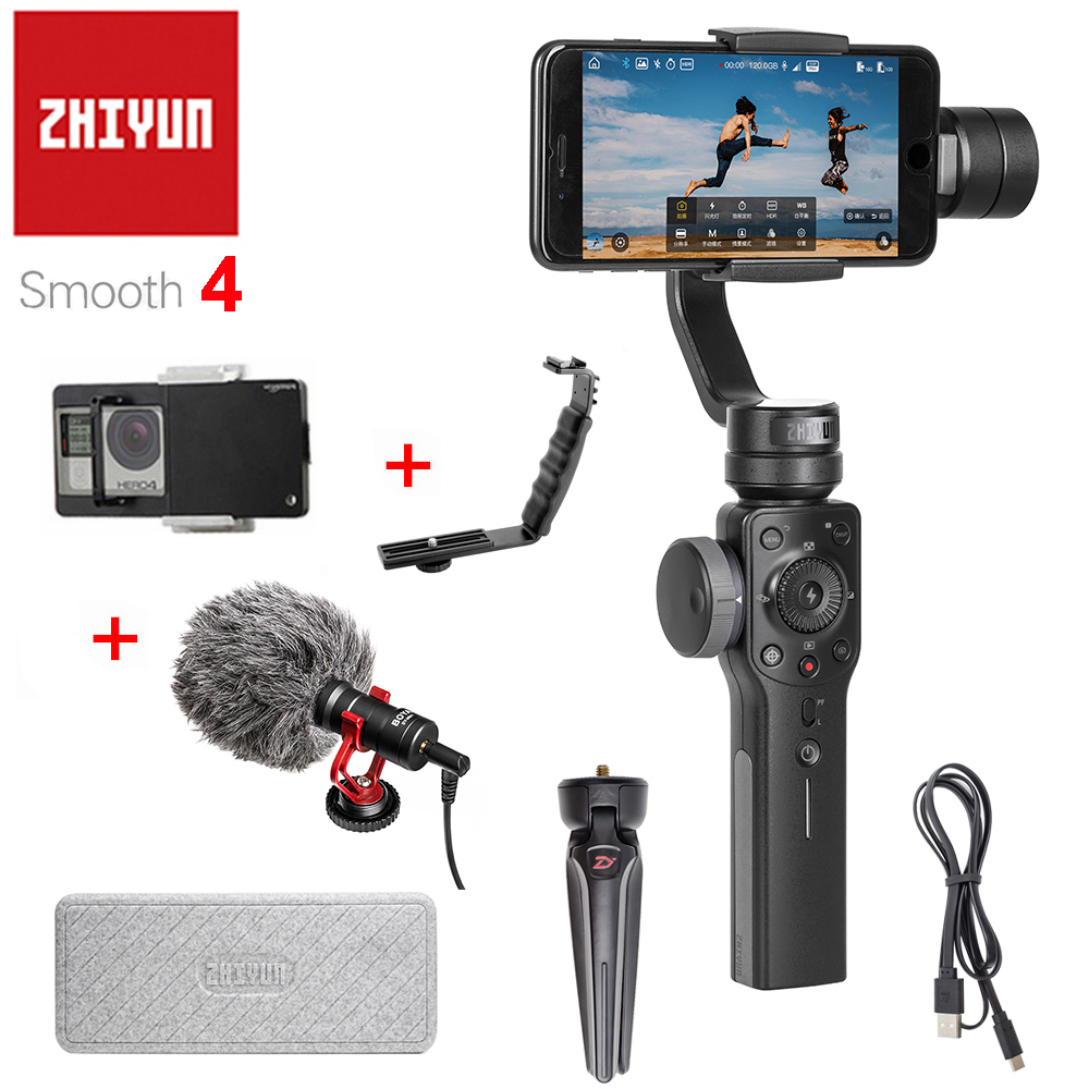 ZHIYUN Smooth 4 3-Axis Handheld Gimbal Portable Stabilizer Camera Mount for Smartphone Iphone Action Camera zhiyun smooth4 smooth 4 3 axis handheld gimbal stabilizer for smartphone action camera iphone x 8 gopro hero 5 sjcam yi mic kit