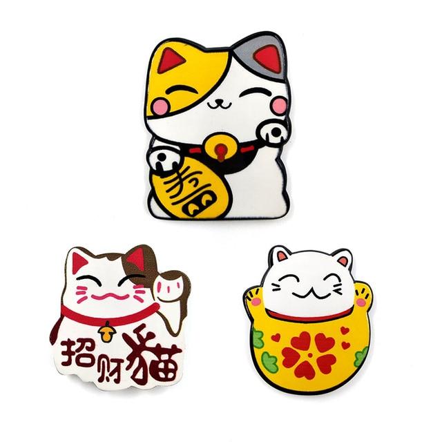6pcs Japan Lucky Cats fridge magnets Cartoon Kitten animals whiteboard sticker Refrigerator Kid Message post Home Decoration 2