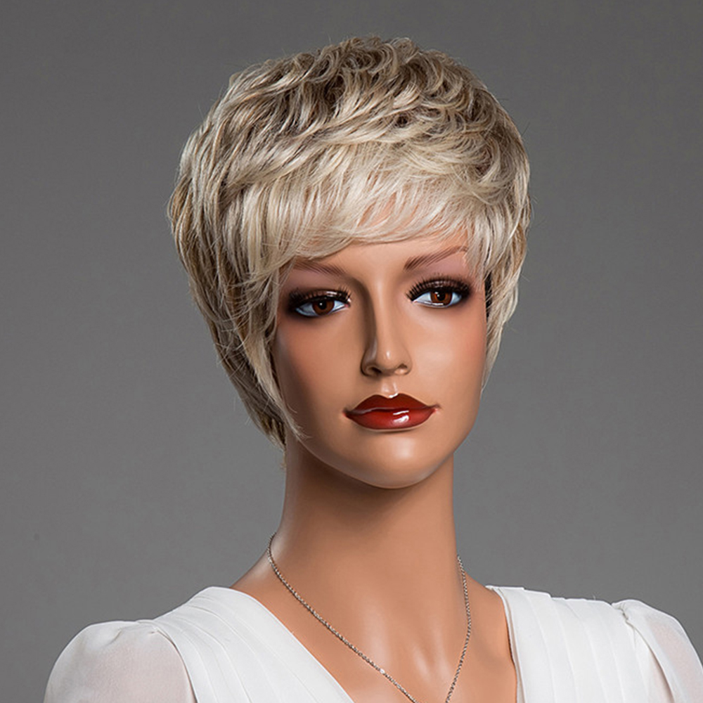 BLONDE UNICORN Synthetic 6 Inch Pixie Cut Short Straight 50% Human Hair Wig Fluffy Multi-Layered Ombre Blonde Hair Blend Wig  Karachi
