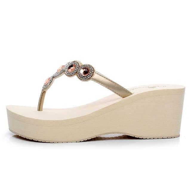 Women Fashion Rhinestone Flip Flops High Heel wedge Sandals Diamond  Slippers Female Sandals Shoes b4bae23d4036