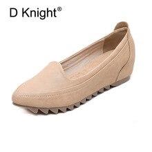 Señoras Casual Slip-on Wedge zapatos Vintage liso sólido puntiagudo boca poco profunda cuñas para mujeres zapatos para mamá cómodos 33-42