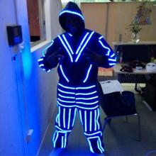 New desian blue color LED costumes led suit with mask for stage show dancing dj