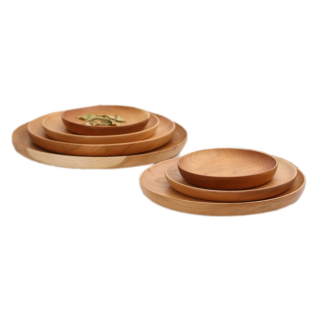 Cherry Wood Round Wooden Serving Tray Fruit Plate Wood Plate Circle Pallet  Japanese Style Dried Fruit