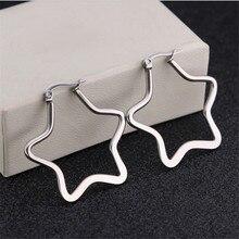 30mm Trendy Pentagram Stud Earrings For Women Men Gold Silver Color High Quality Stainless Steel Stud Earrings Fashion Jewelry