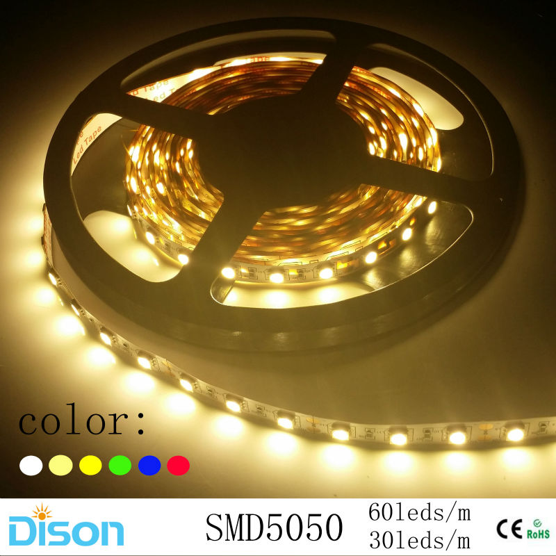 5m/roll 5050 SMD RGB LED Strip Lighting Flexible diode Ribbon Lamp Tape 12V LED Ceiling Wall Light White/Red/Green/Blue/RGB