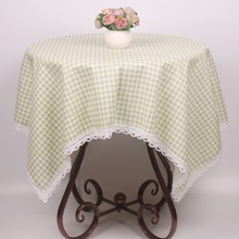 Light Lemon Green Korean Japan Style Cotton Linen Plaid Lace Tablecloth Tartan Table Cloth Dusproof Home