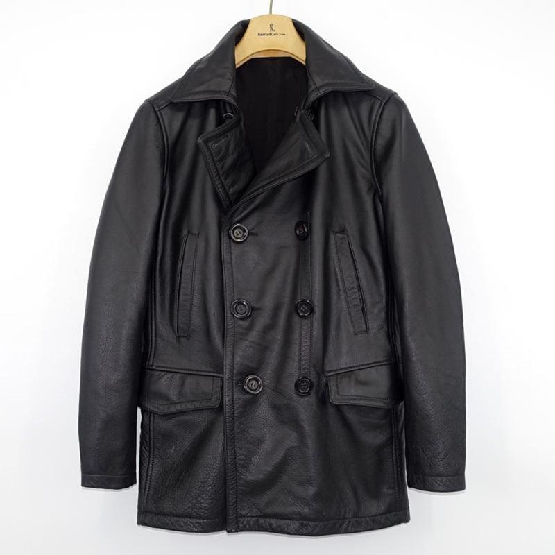 Coat Russian Winter Genuine-Leather Real-Cowhide XXXXL Casual Black Long Pea Men Plus-Size