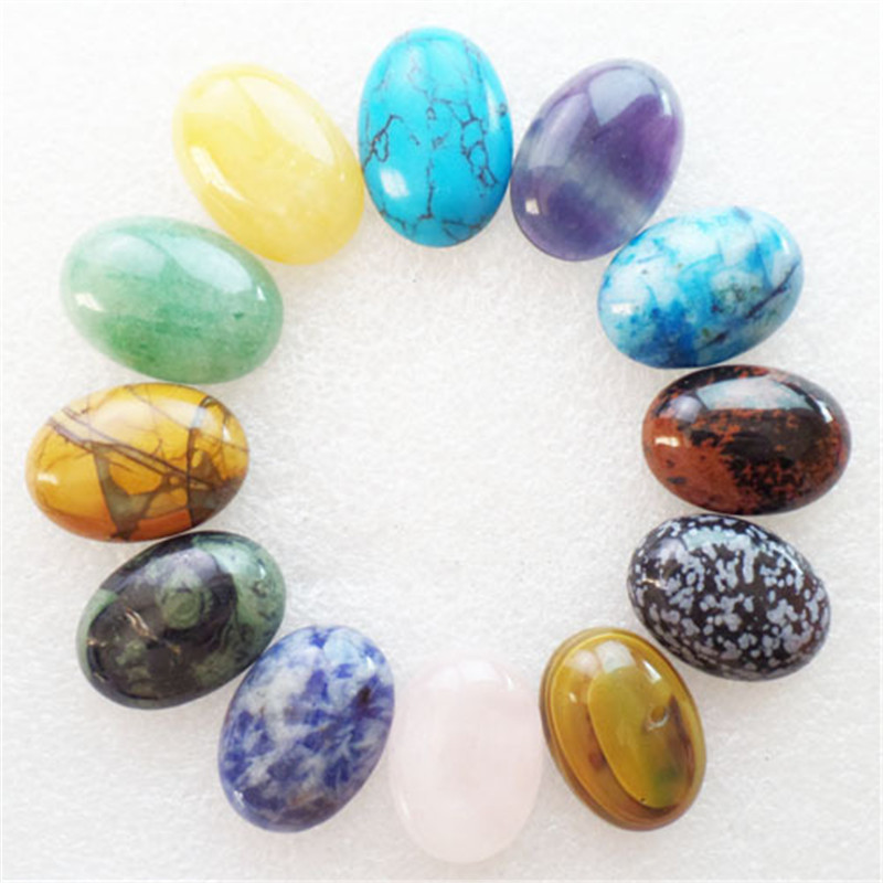 (12 pieces/lot) Wholesale Natural Mixed Stone Oval CAB Cabochon 25x18x6mm Free Shipping Fashion Jewelry J414