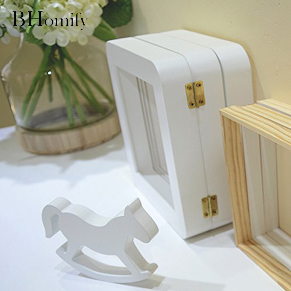 BHomify Pure White Rocking Horse Log Trojan Wedding Woodiness Horse Decoration Desktop Decoration Crafts and Gifts