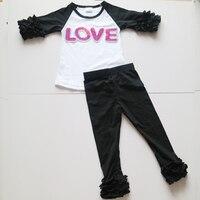 3/4 סט בגדי חולצה של חולצות לפרוע לפרוע שחור יום אהבת סיטונאי צועד עם פאייטים מכתב חולצות קרוע הדובדבן הדובדבן