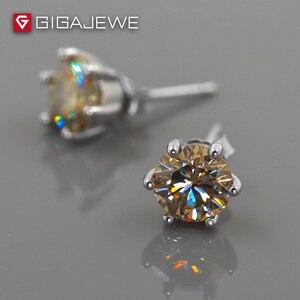 Image 4 - GIGAJEWE Moissanite Altın Yuvarlak Kesim Toplam 1.6ct Lab Grown Diamond 6 Prong Gümüş Küpe moda takı Kız Arkadaşı Hediye