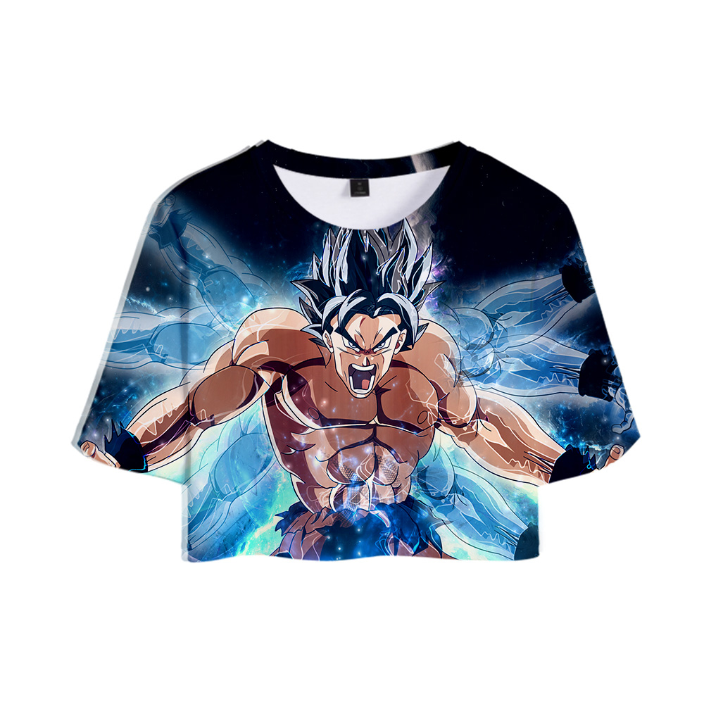 Dragon Ball Super Broly <font><b>3D</b></font> Exposed Navel <font><b>T</b></font>-<font><b>shirt</b></font> Women Hot Fashion <font><b>Sexy</b></font> Short <font><b>T</b></font> <font><b>shirt</b></font> 2019 New Lady Hip O-Neck Summer <font><b>T</b></font>-<font><b>Shirts</b></font> image