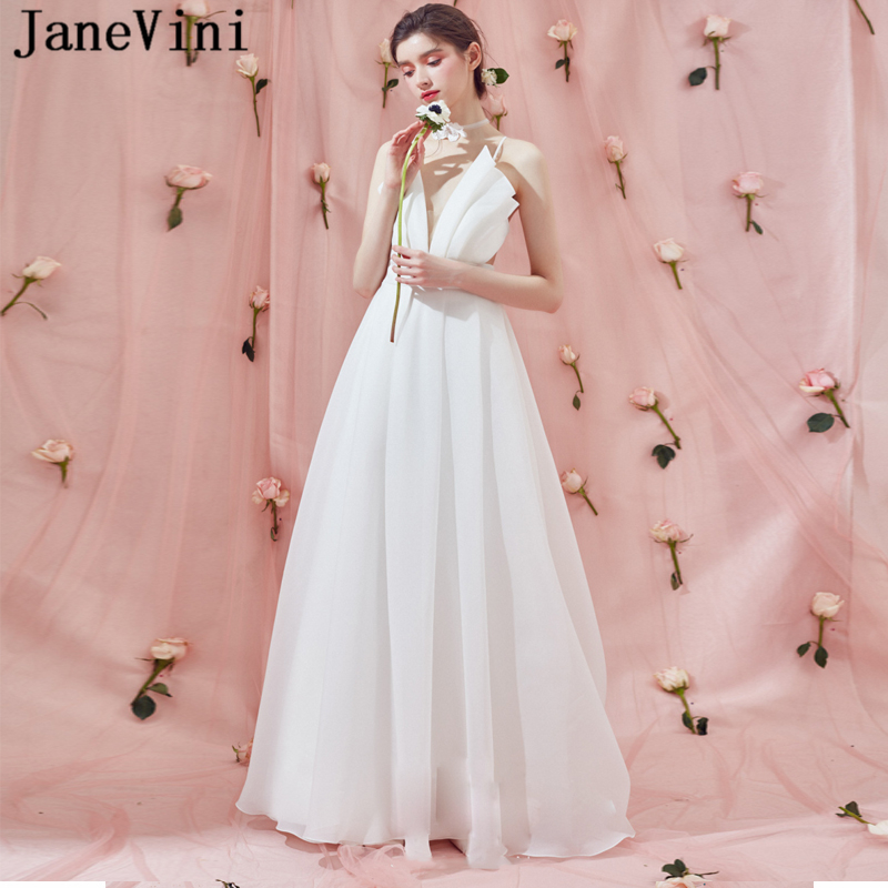 JaneVini Chiffon White Long Bridesmaid Dresses for Women A Line Sexy Deep V  Neck Pleats Backless Sweep Train Wedding Party Gowns 137a865dcff4