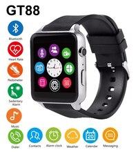 Gt88 bluetooth smart watch wodoodporna tętno monitora snu pomoc tf/karty sim smartwatch dla iphone 5s 6 s 7 dla samsung S7