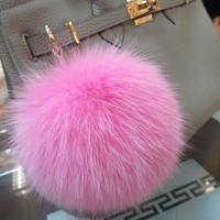 Fashion Accessories BAG Bugs Charm Rose Pink Furry Handbag Charm Pom Poms Rose Pink Genuine Fox